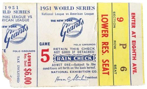 1951 World Series Game 5 Ticket Stub New York Yankees vs San Francisco Giants