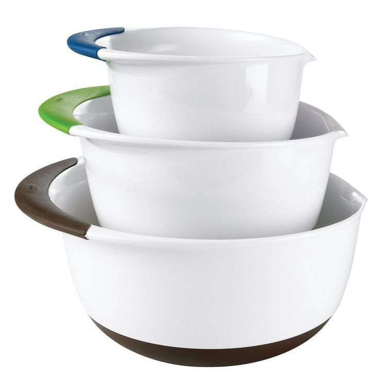OXO Good Grips Mixing Bowl Set With Handles 3 Piece Blue/Green/Brown