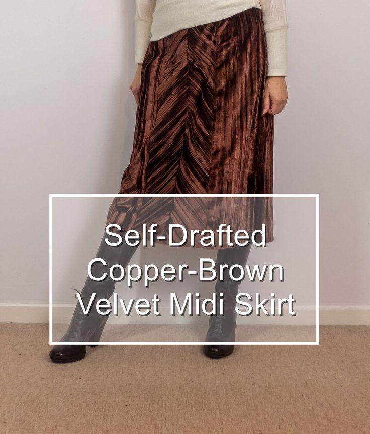Self-Drafted Copper-Brown Velvet Midi Skirt