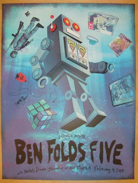"Ben Folds Five w/ Nataly Dawn - silkscreen concert poster (click image for more detail) Artist: Jon Smith Venue: Showbox Location: Seattle, WA Concert Date: 2/4/2013 Size: 18"" x 24"" Edition: 120, sign"