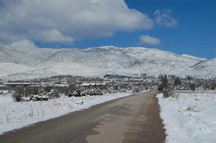 Snow on Mt. Kallidromon, Greece.