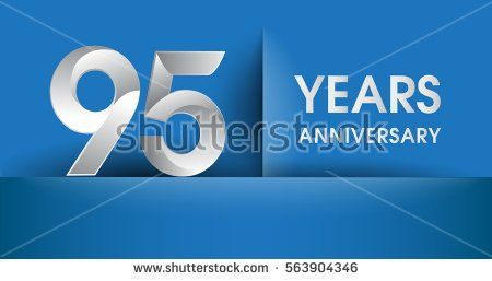 95 years Anniversary celebration logo, flat design isolated on blue background, vector elements for banner, invitation card and birthday party.