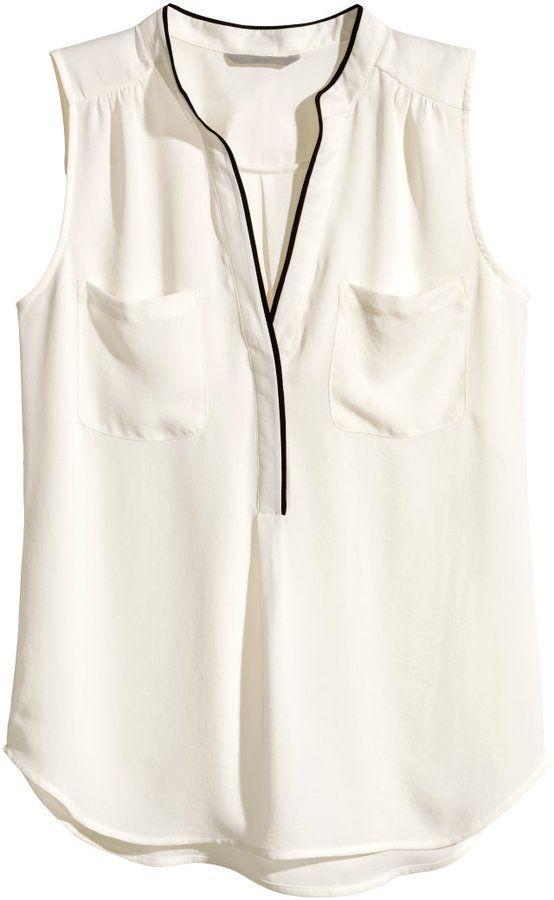 Visit H M Sleeveless Blouse Natural White Ladies Sleeveless