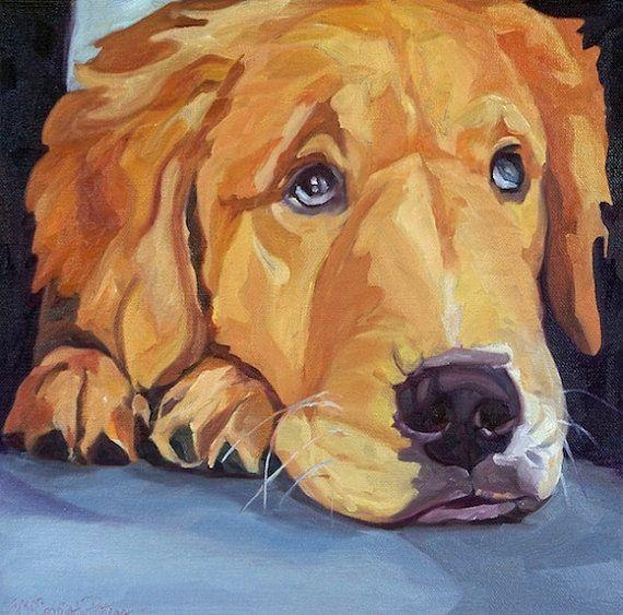 Pet Portrait Golden Retriever Dog Art Print by BarkingDogCreations, $30.00