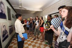 Learning about the brutality of war at the Toul Sleng Museum. #VietnamSchoolTours #Cambodia #PhnomPenh