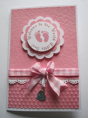 handmade baby shower card pink sweet gingham ribbon