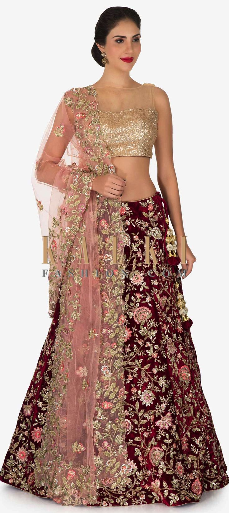 Buy Online from the link below. We ship worldwide (Free Shipping over US$100)  Click Anywhere to Tag Maroon lehenga in velvet adorn in resham and cut dana embroidery work only on Kalki