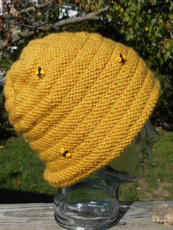 Hand Knit Bee Happy Hive Hat