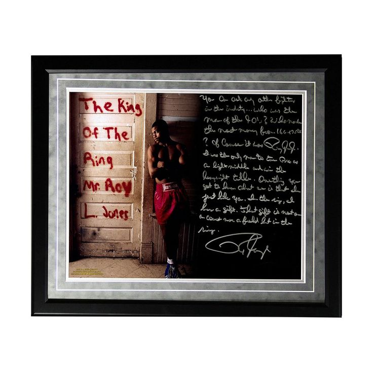 """Steiner Sports Boxing Roy Jones Jr. Dominating in the '90s Facsimile 16"""" x 20"""" Framed Metallic Story Photo, Multicolor"""