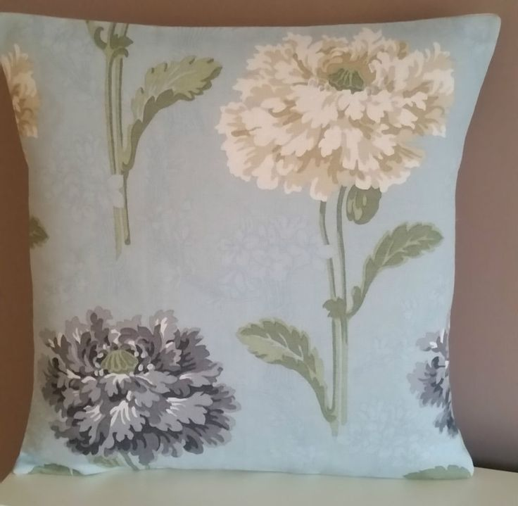 Laura Ashley Duck Egg Fabric Cushion Cover Linen-Shabby Chic Hydrangea Pillow