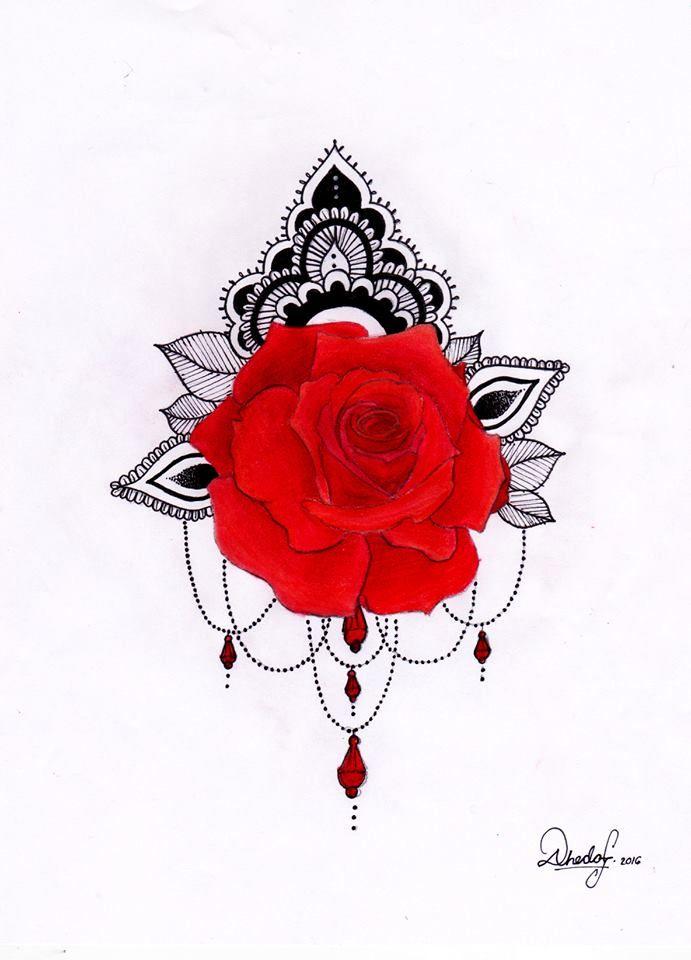 Roses flower mandala tattoo design draw dibujo rosas rojas tatuaje #madebyme
