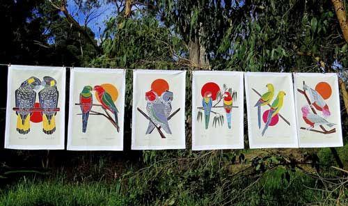 Our new Certified Organic Australian Birds tea towel range #certifiedorganic #teatowel #birdsofaustralia #organiccotton #kitchentextiles #blackcockatoo #easternrosella #ganggangcockatoo #kingparrot #galah #regentparrot #parrot #rosella