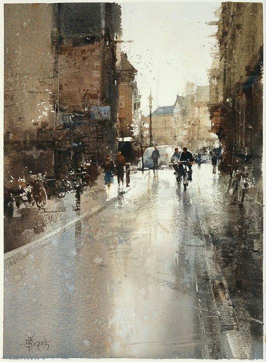 Chien Chung-Wei 【劍橋騎士,Cambridge Rider】Watercolour by Chien Chung Wei,36X27 cm ,Demo