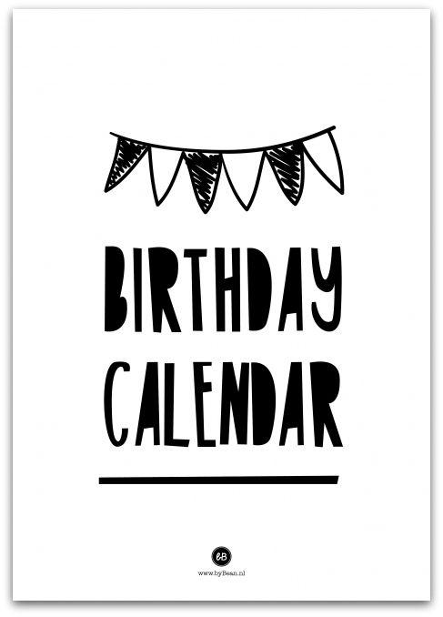 Verjaardagskalender in zwart wit van byBean.  Met handig wire-o haakje, om hem te kunnen ophangen!  Elke maand een nieuwe motiverende en positieve quote!    Op A4 formaat.  Gedrukt op 250 grams mat papier - € 12,95
