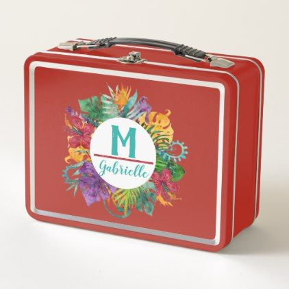 Tropical Floral Palm Wreath Monogram Initial Name Metal Lunch Box - floral style flower flowers stylish diy personalize