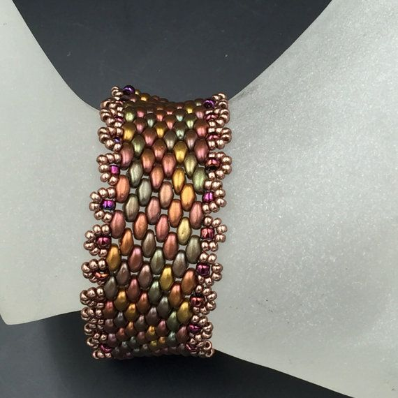 Peyote Bracelet,Bronze Gold Green Beaded,BeadWork Bead-Weaving,Colorful Beads Arm Candy,Woven Cuff Bracelet,Handmade Jewelry Bead work