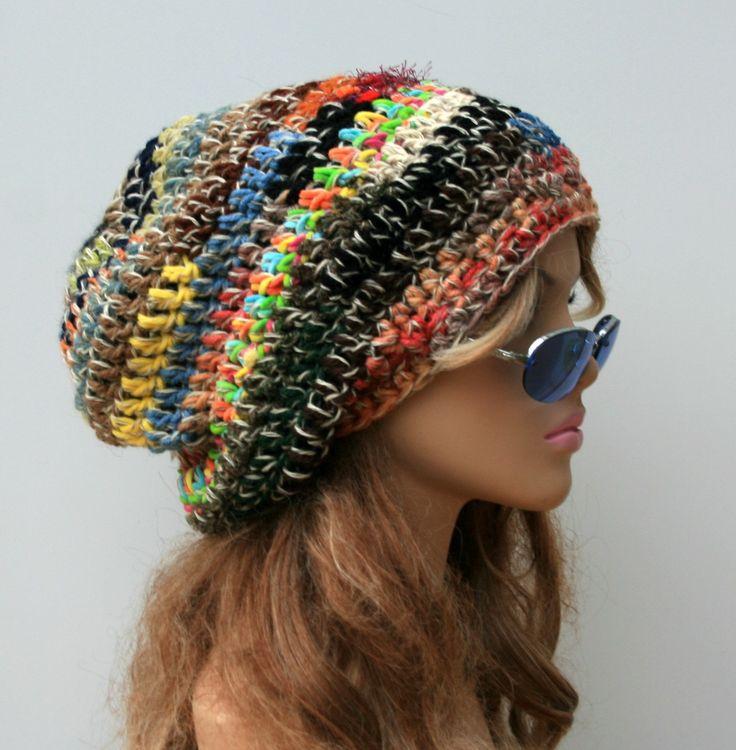New to PurpleSageDesignz on Etsy: Slouchy Patchwork hat crazy striped hippie beanie dreadlocks tam hat slouchy beanie hat handmade crochet OOAK Bohemian BoHo baggy hat (23.00 USD)