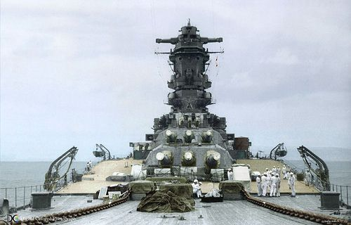 "The forward 18"" gun turrets of IJN Musashi."