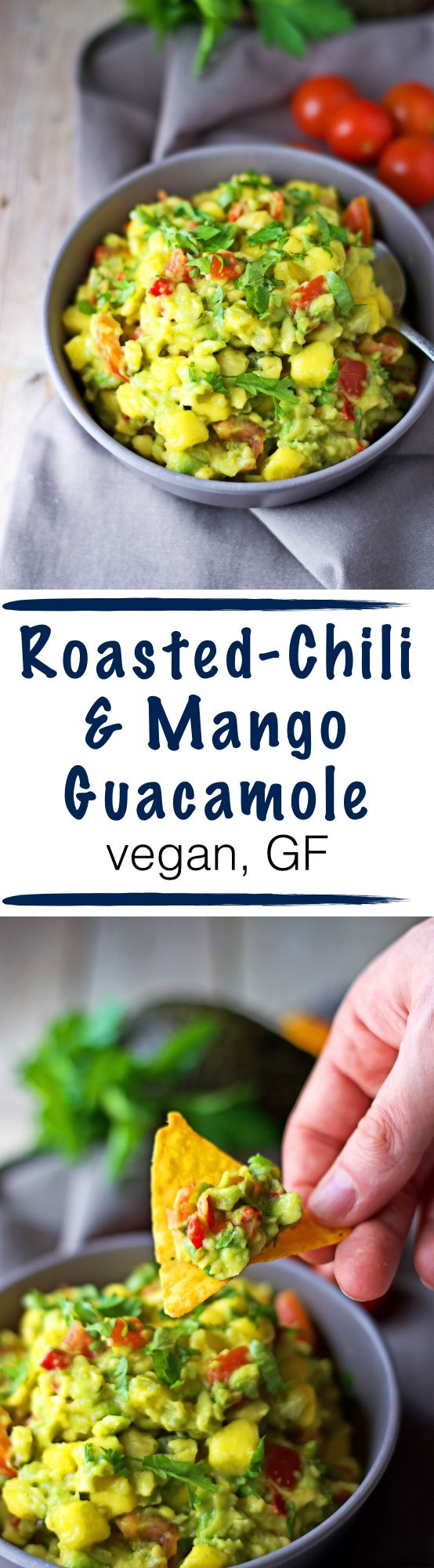Summer time is BBQ time! And snack time! And picnic time! This roasted-chili mango guacamole goes well with bread, chips, tortillas, nachos – basically with everything dip-able!