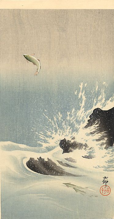 Koson Ohara - 1877-1945 the tumultuous waves propel the escape of this fish - he is able to fly.