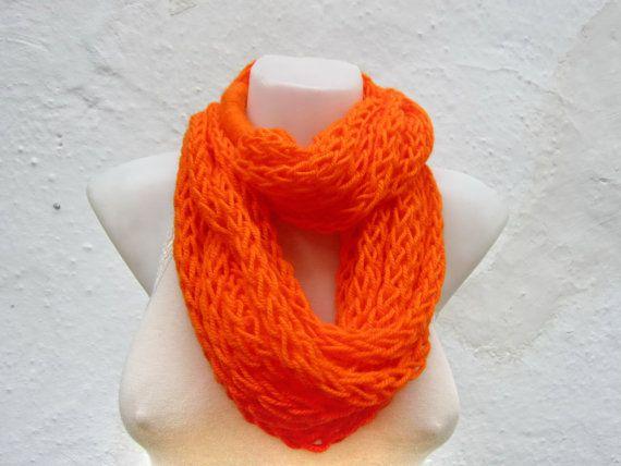 Finger Knitting Scarf Orange  neon Necklace scarf  by scarfnurlu