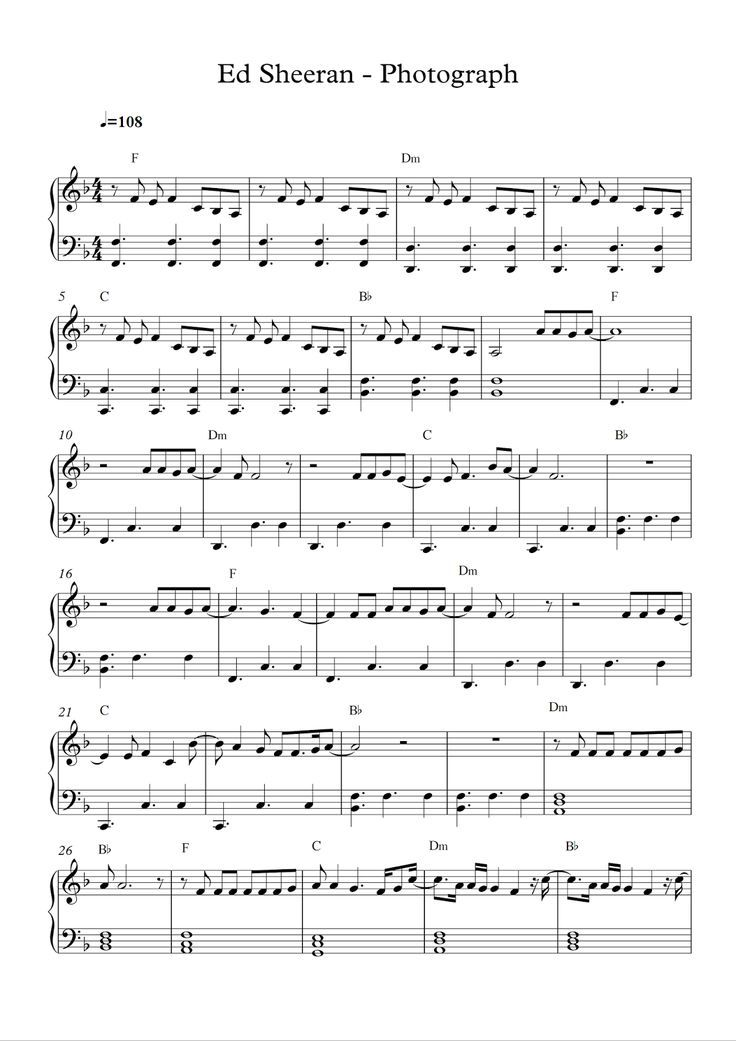 Free Piano Sheet Music Ed Sheeran Photograph Pdf Loving Can