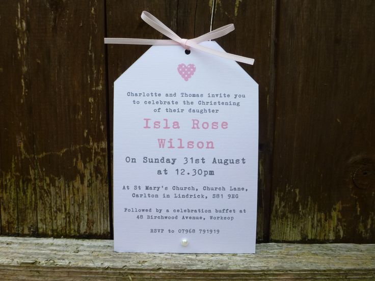 Pretty Handmade Christening Invitation  Naming Day  by PaperFudge, £1.50
