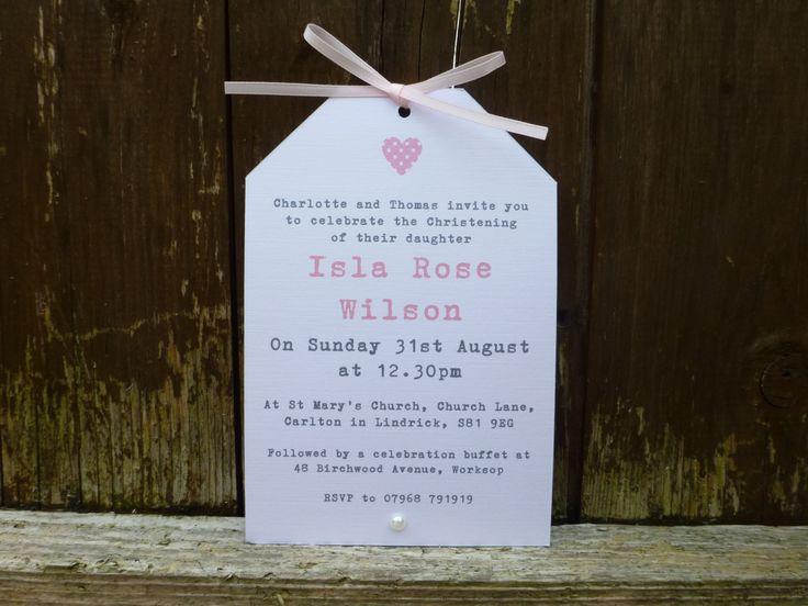 Pretty Handmade Christening Invitation  Naming Day  by PaperFudge, £1.50