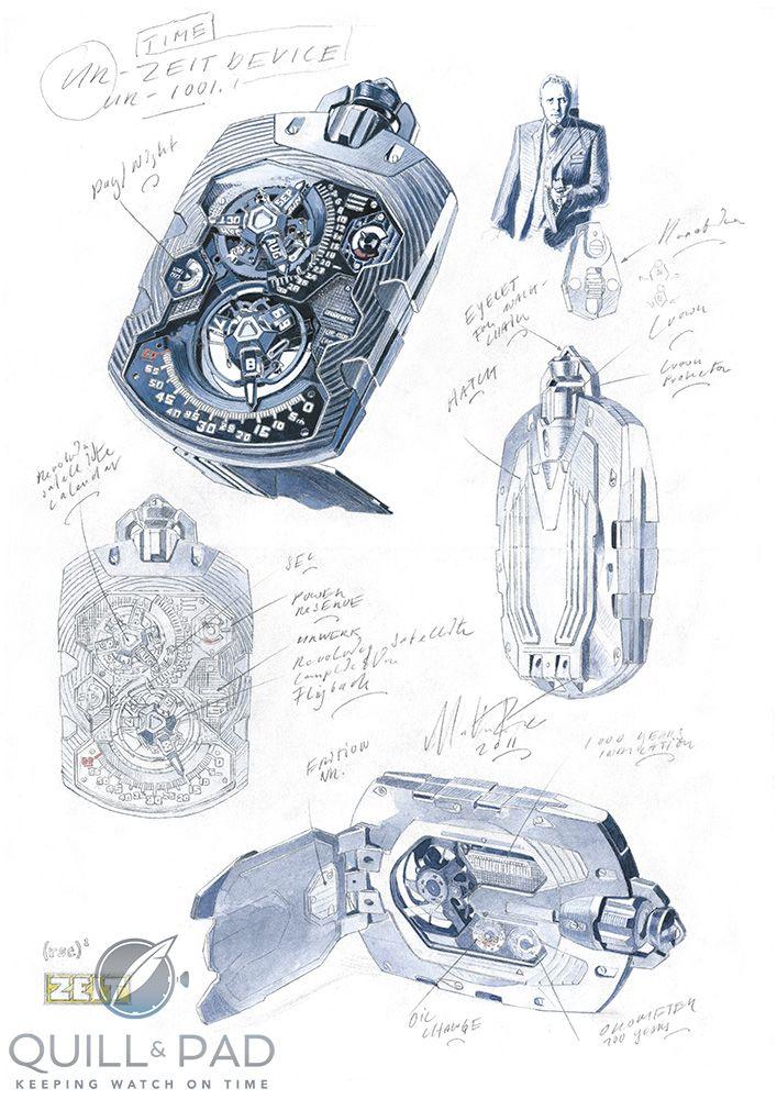 Marin Frei's sketches of the Urwerk UR-1001 Zeit Device