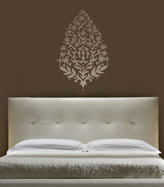 wall stencil from Etsy. LOVE this color scheme and that headboard!