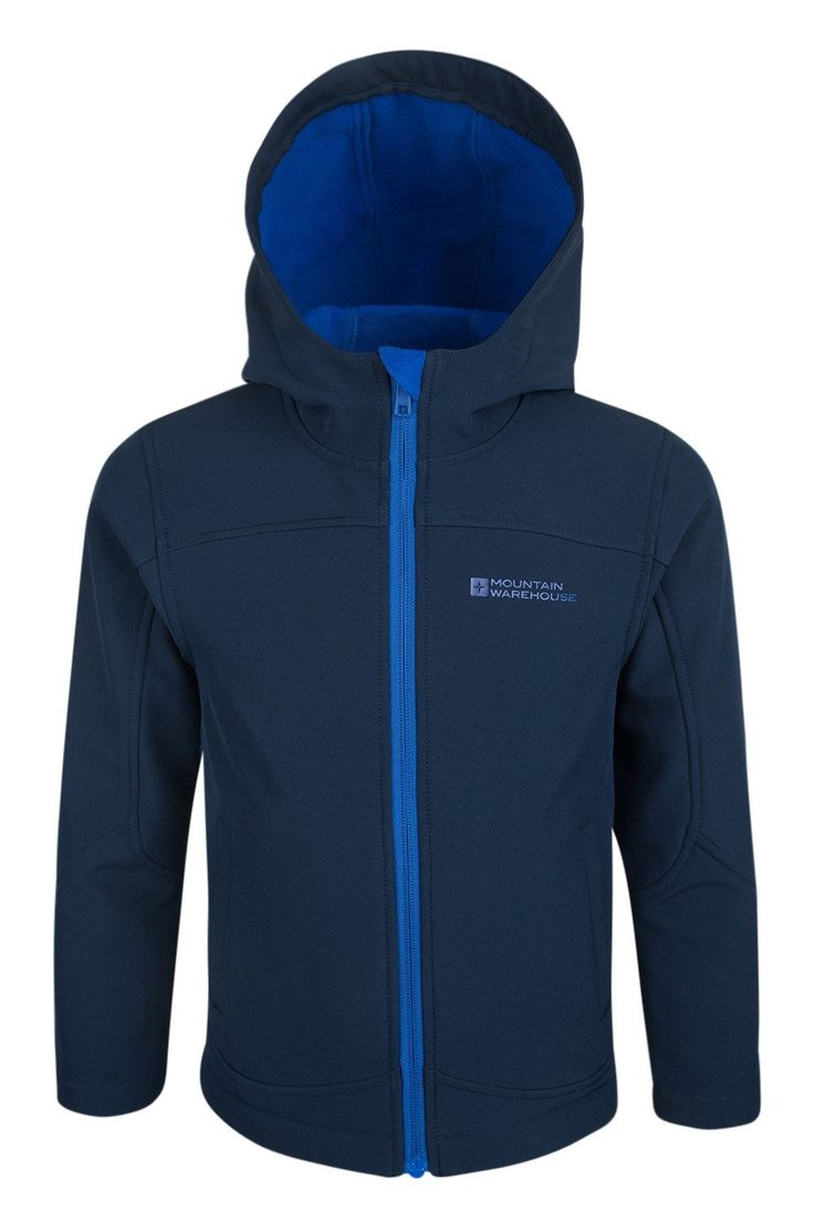 Mountain Warehouse Exodus Kids Softshell Hoodie Lightweight Rain Jacket Navy 11-12 years. 93% Polyester and 7% Elastane. Fleece Lined Hood - warm and comfortable. Shower Proof - Treated with Waterproof Coating. Wind Resistant - Helps keep the wind out, so your kid can stay warm with fewer layers. Breathable, ideal for cycling and other outdoor activities.