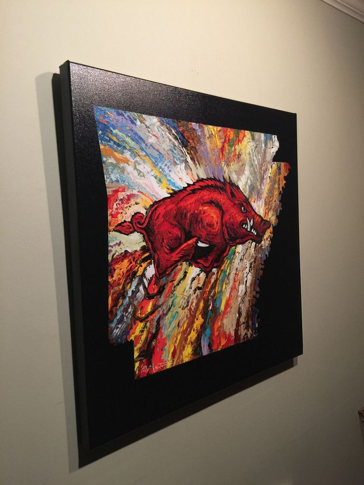SAVE $100 TODAY! GRADUATION DAY SPECIAL!!!  Archival Print on Canvas of The Arkansas Razorback on Black Background.