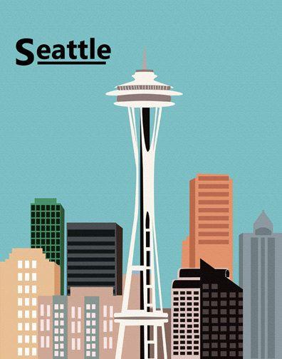 #flat #design #poster: Seattle Washington, Space Needle art print illustration 8x10