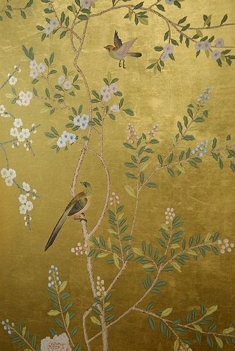 Chinoiserie gold wallpaper panel.