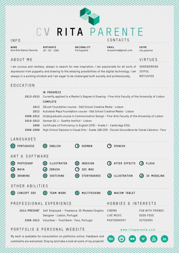 45 best Creative CVs images on Pinterest Graphic designer resume - creative graphic design resumes