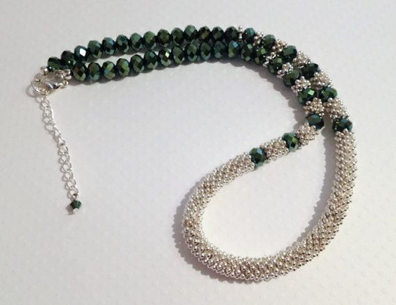 Electroplated Green Crystal Beaded Necklace by JewelleryByJanine, £20.00