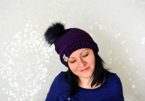 Faux Fur Pom Pom Hat eggplant color crochet by MAMMBAaccessories