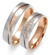 Bicolor, exclusieve trouwringen uitgevoerd in wit en rosegoud. Natuurlijk is dames ring bezet met briljanten.