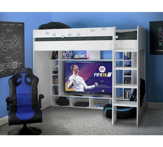 Argos Home White Gaming High Sleeper Bed Frame Kids