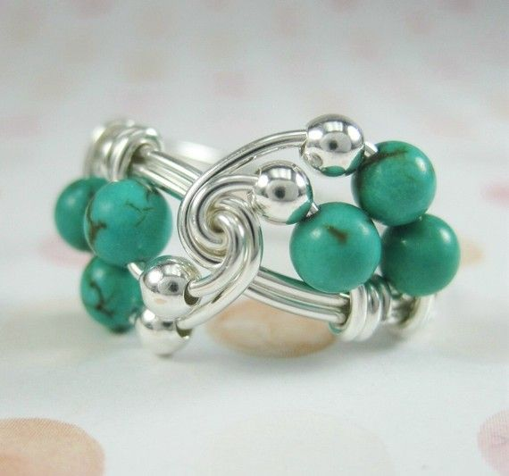 Turquoise Jewelry  Wire Wrapped Ring Turquoise and by holmescraft, $24.00