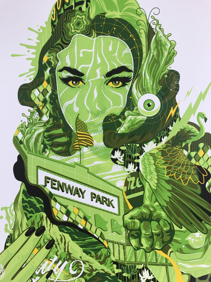 Pearl Jam - 2016 Tristan Eaton poster Boston, MA, Fenway Park Red Sox