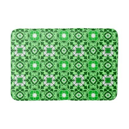 Floral Moroccan Tile Emerald and Lime Green Bath Mat - light gifts template style unique special diy