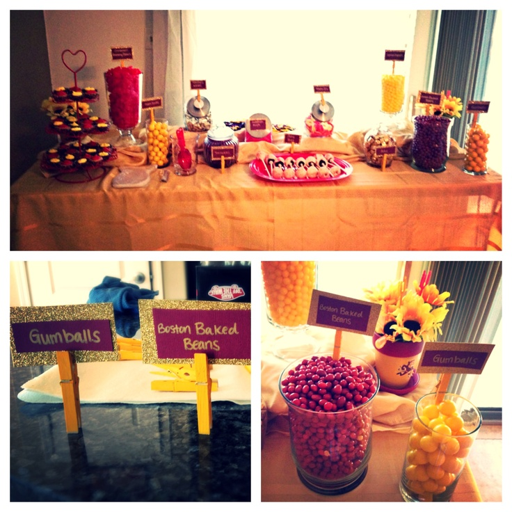 Arizona State University Candy Cupcake Bar Red And Yellow Themed Candies In Different Size