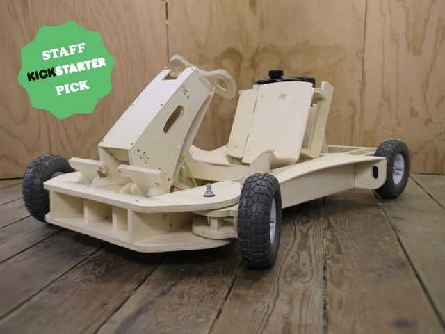 PlyFly Go-Kart by The Flatworks - Kickstarter.  A complete gas powered wooden roadster that is as much fun to build as it is to drive. Arrives in 3 boxes and assembles in 1 day.