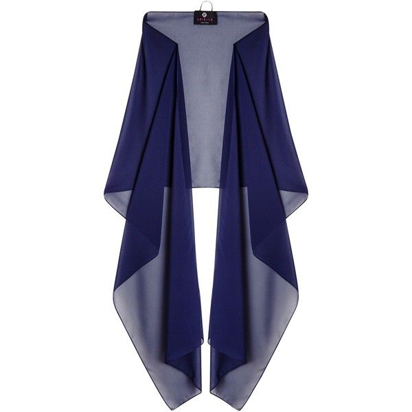 Ariella Dina Stole, Navy ($61) ❤ liked on Polyvore featuring accessories, scarves, ariella, lightweight scarves, frilly scarves, navy blue scarves and navy scarves