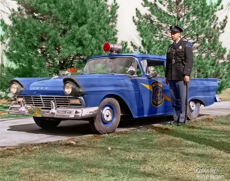 1957 Michigan State Trooper with his Ford 300 Cruiser. (Black & White image I colorized)
