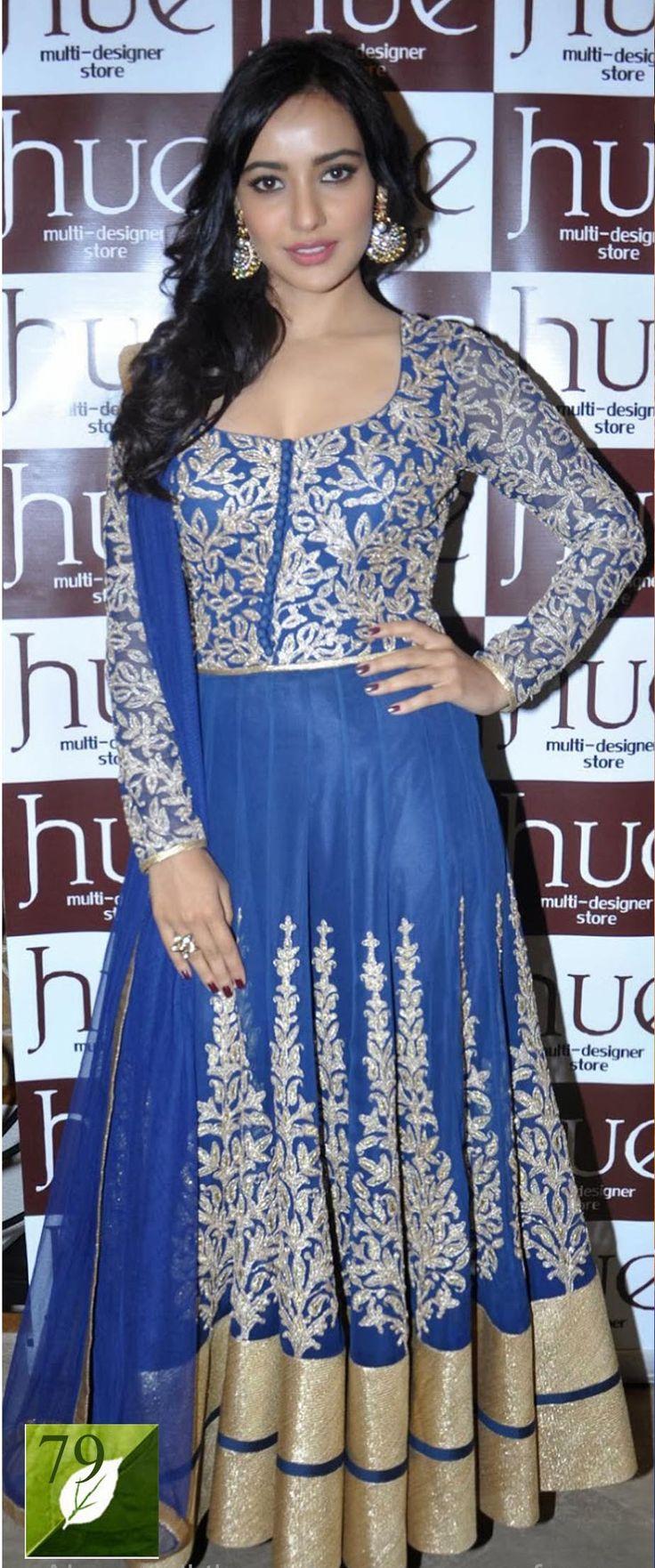 Neha Sharma Net Zari Work Blue & Golden Semi Stitched Bollywood Style Suit - http://member.bulkmart.in/product/neha-sharma-net-zari-work-blue-golden-semi-stitched-bollywood-style-suit/