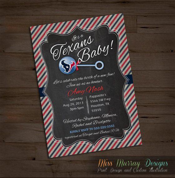 Texans baby shower invitation printable PDF by MissMurrayDesign, $15.00