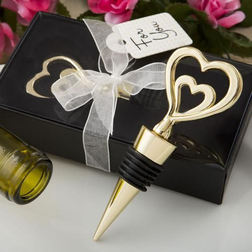 Gold Double Heart Wine Stopper Favors