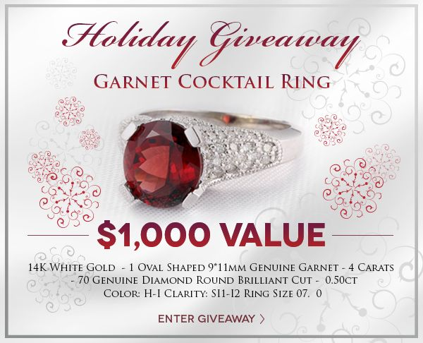 Enter to #Win a Genuine Garnet & Diamond Ring! @Holsted_Jeweler #jewelry #giveaway #holstedjewelers